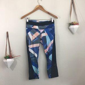 Athleta geometric colorful crop leggings with mesh